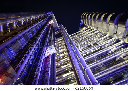 The Lloyd's Building (also known as The Inside-Out Building) closeup by night