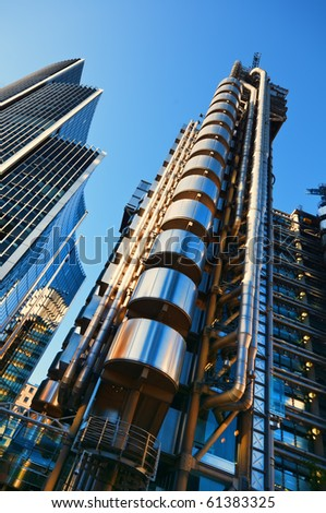 The Lloyd's Building and Willis Building in the morning light. - stock photo