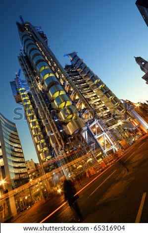 The Lloyds building  at night. - stock photo