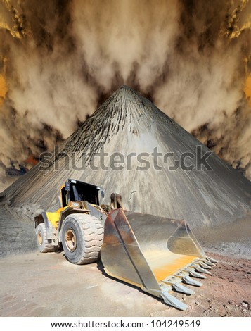 The loader excavator in a damaged landscape. Environmental concept. - stock photo