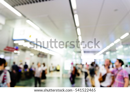 The lobby of a train station.Blur image can be background usage.