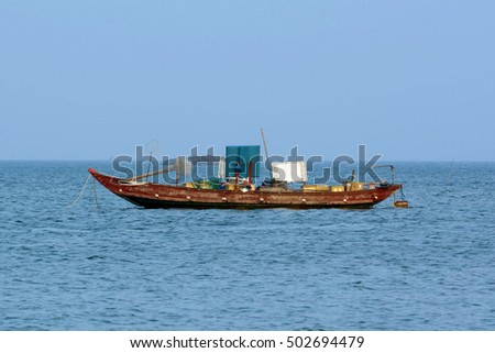 The local fisherman boat in South China Sea, Da Nang, Vietnam