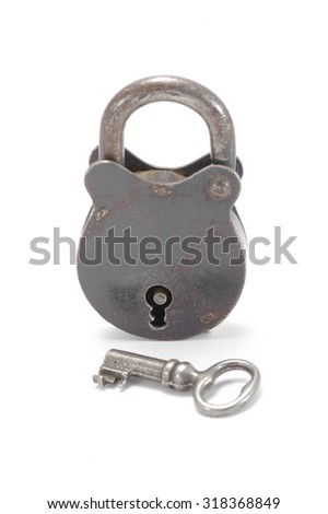 The lock and key on white background