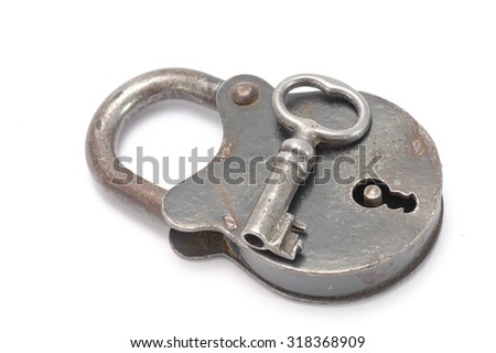 The lock and key on white background - stock photo