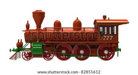 The locomotive steam on a white background - stock photo