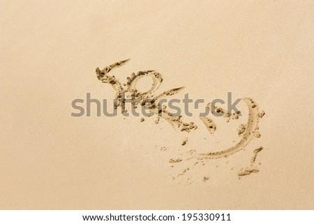 The LOL written on a sand beach - stock photo