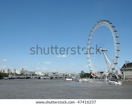 The London Eye and  River Thames - stock photo