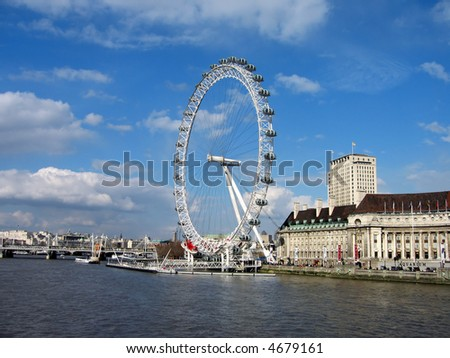The London Eye observation wheel on the River Thames in London