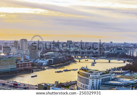 The London skyline at sunset. - stock photo