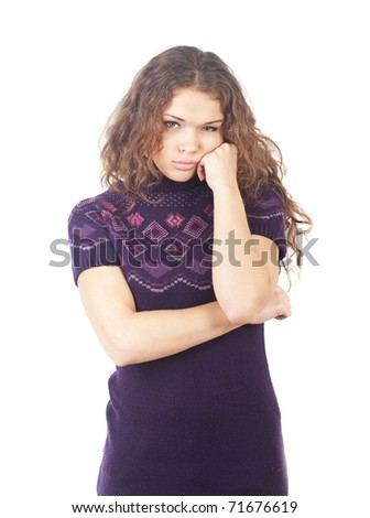 The lonely girl with sad expression on white background - stock photo