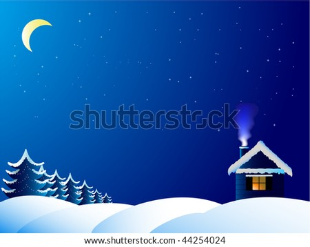 The lonely house in frosty night - stock photo