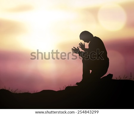 The lonely man over sunset. Worship, Forgiveness, Mercy, Humble, Evangelical, Reconcile, Adoration, Glorify, Redeemer, Christmas background, Evangelical, Repentance, Surrender, Redemption concept.