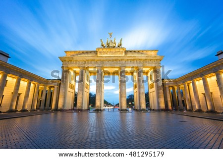 The long exposure view of Brandenburger Tor in Berlin, Germany.