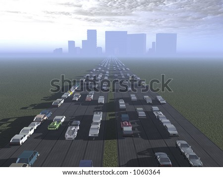 The long road into the city - stock photo