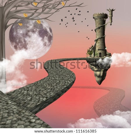 The long way for fantasy - stock photo