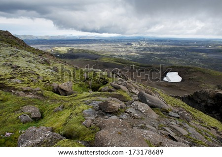 The longest chain of volcanic craters at Lakagigar, Iceland - stock photo