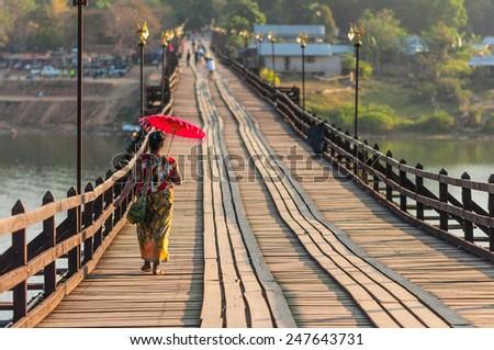The longest wooden bridge in western region of Thailand. Sangkhla Buri - stock photo