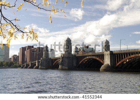 The Longfellow Bridge connects Beacon Hill, Boston to Kendall Square, Cambridge across Charles River.  The bridge is open since 1906 and currently carries traffic and the red subway line - stock photo
