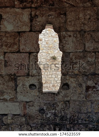 The loophole in the Jerusalem wall - Israel - stock photo