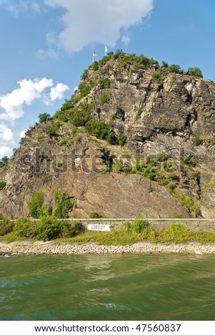The Loreley rock on the Rhine River, Germany - stock photo