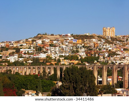 The Los Arcos (aqueduct) in Queretaro, Mexico. Constructed between 1726 and 1735. - stock photo
