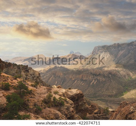 The Lost Mine Trail in Big Bend National Park as the Clouds Come In - stock photo