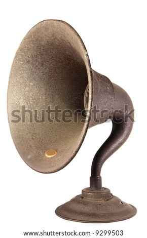 The loudspeaker horn from an early, exposed tube, shelf type  radio set. - stock photo