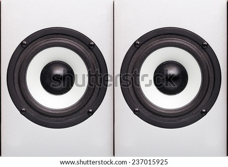 The loudspeaker of the speaker system on a gray background, two loudspeakers which are built in a wall, nobody. - stock photo