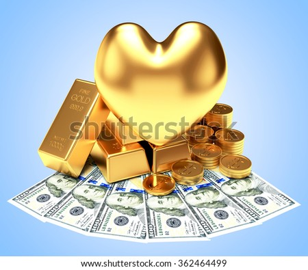 The love of money concept. Golden heart among a heap of bullion, coins and dollar bills on blue background - stock photo