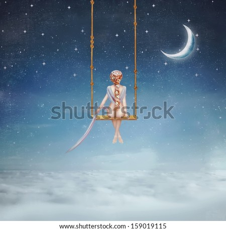 The lovely girl shakes on a swing - stock photo