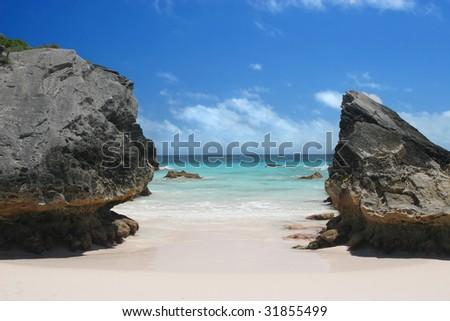 The lovely pink sands of Horseshoe Bay Beach, Bermuda. - stock photo