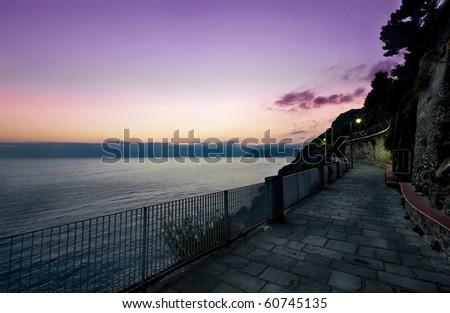 """The """"lover's walk"""" in Riomaggiore (Liguria - Italy). Riomaggiore in one of the five cities called """"5 terre""""  with Monterosso, Vernazza, Corniglia and Manarola. - stock photo"""