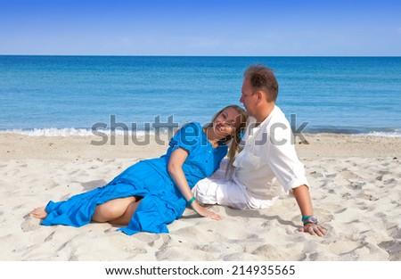 the loving couple on the seashore, Cuba, Varadero  - stock photo
