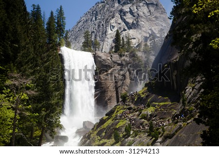 The lower falls of Vernal Falls in Yosemite National Park - stock photo