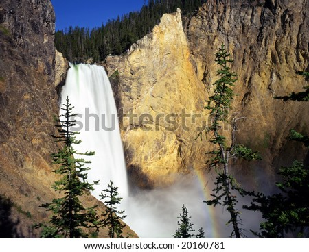 The Lower Falls on the Yellowstone River in Yellowstone National Park, Wyoming. - stock photo