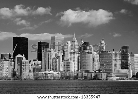 The Lower Manhattan skyline in a classic black and white format