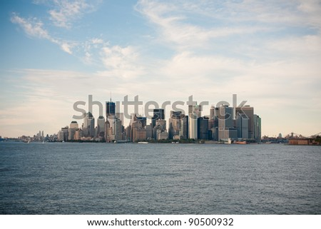 The Lower Manhattan. View from ferry