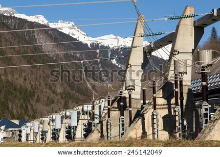 The lower reservoir of Lac du Verney. It is the largest hydroelectric power station in France - stock photo