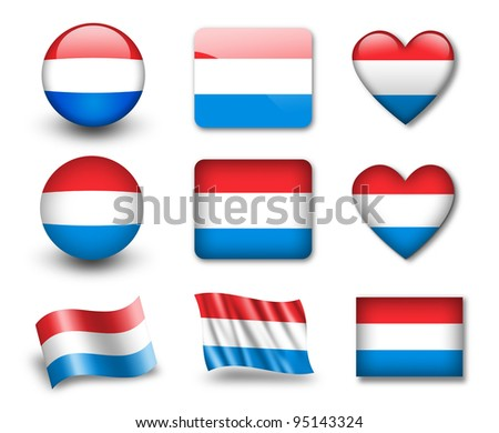 The Luxembourg flag - set of icons and flags. glossy and matte on a white background. - stock photo