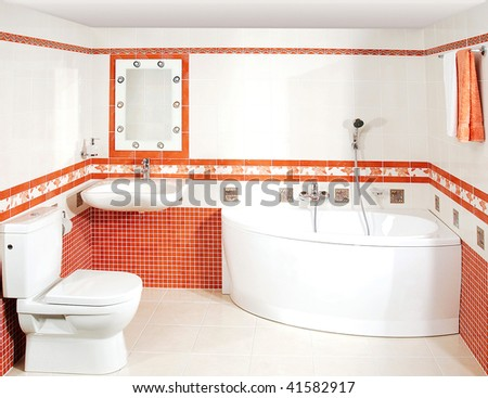 The luxury bathroom with the mosaic tiles - stock photo