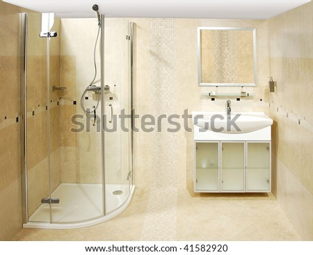 The luxury bathroom with the shower - stock photo