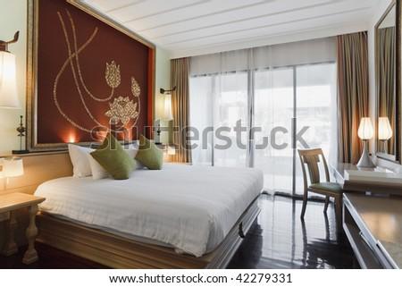 The luxury bedroom interior design - stock photo