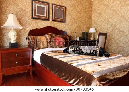 the luxury expensive bedroom interior
