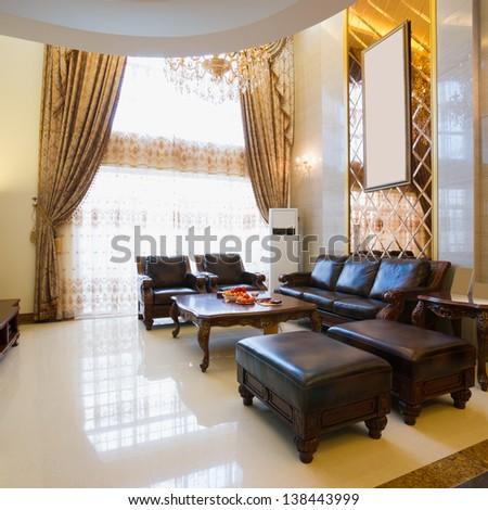 the luxury living room - stock photo