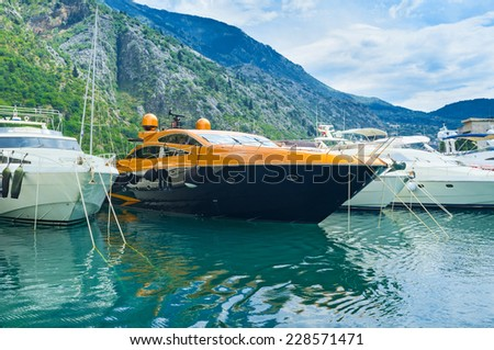 The luxury yachts in port of Kotor, Montenegro. - stock photo