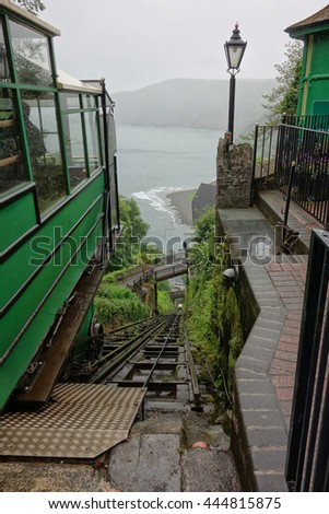 The Lynton and Lynmouth Cliff Railway. A water-powered funicular railway joining the towns of Lynton and Lynmouth, Devon, England. - stock photo