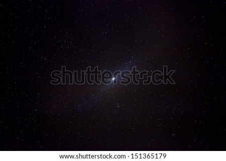 The M31 Andromeda Galazy as seen by a 200mm lens - stock photo