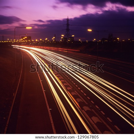 the M6 motorway, birmingham at night - stock photo