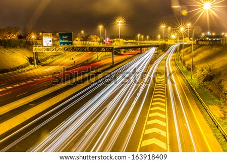 The M50 motorway is a motorway in Ireland running in a C-shaped ring around the north-eastern, northern, western and southern sides of the capital city, Dublin - stock photo