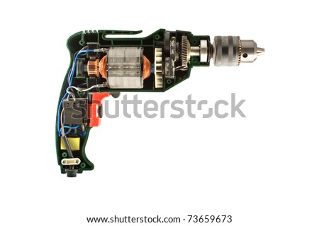 The machine drill parts with very details, isolated on a white background - stock photo